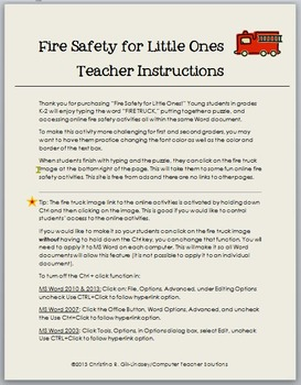 Fire Safety Google Docs and/or MS Word & Internet Activities for Grades K-2