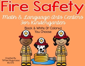 Fire Safety Math and Language Arts Centers for Kindergarten