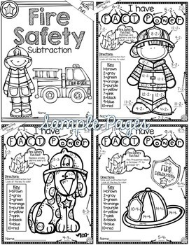 Fire Safety Math Color by Number