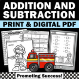 Fire Safety Kindergarten Math Facts, Addition and Subtraction Worksheets
