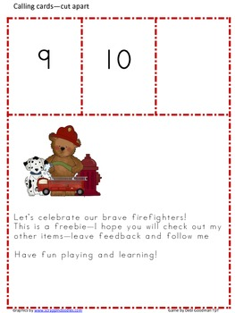 Fire Safety NUmber 0-10 Bingo Game