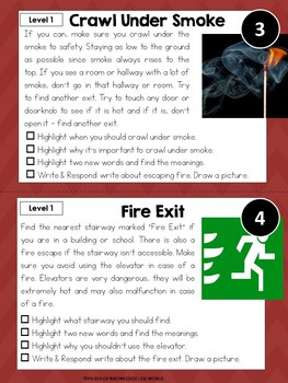 Fire Safety Leveled Nonfiction Reading Comprehension Passages and Questions