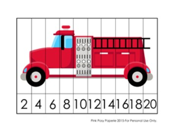 Fire Safety Number Counting Strip Puzzles - 5 Different Designs - Skip by 2