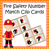 Fire Safety Number Word Match Clip Cards