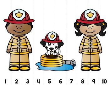 Fire Safety Number Puzzles - Develop Number ID, Cardinal Order, and Number Sense