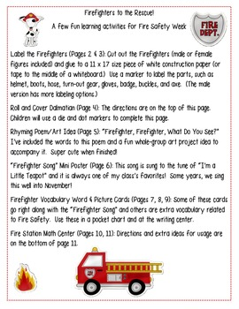Fire Safety Packet - 6 Activities!