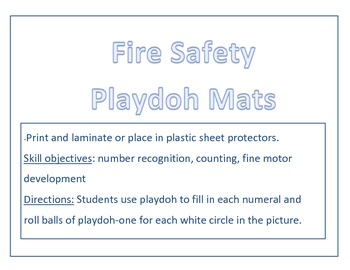 Fire Safety Playdoh Number Mats 1-5