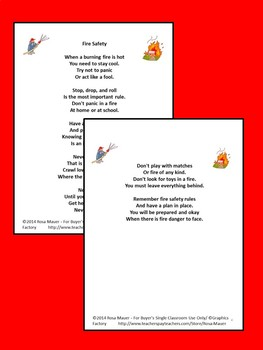 Fire Safety Poetry Packet