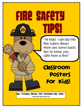 Fire Safety Posters For Kids By Yvonne Dixon Teachers