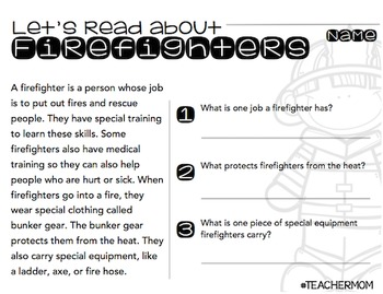 Fire Safety Primary Informational (Non-Fiction) Text Pack {#TeacherMom}