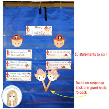 Fire Safety Response Stick and Pocketchart Sorting Activity