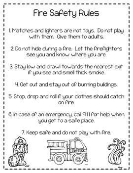 Fire safety rules coloring pages ~ Fire Safety Rules Coloring Sheet by Harper's Hangout | TpT