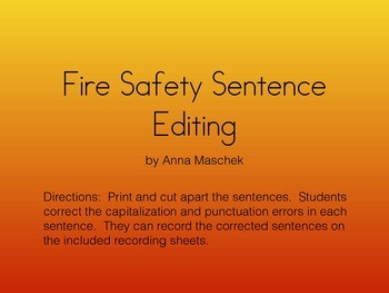 Fire Safety Sentence Editing