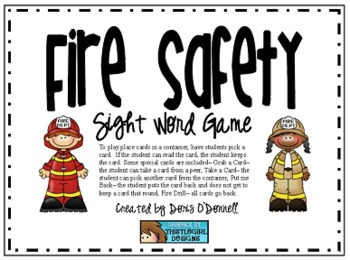 Fire Safety Sight Words
