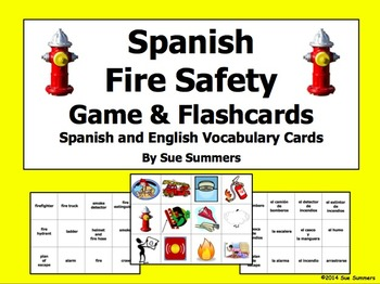Fire Safety Spanish and English Flashcards and Picture Game Cards