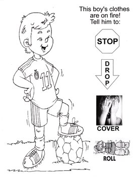 Fire Safety Stop Drop and Roll page