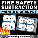 Kindergarten Subtraction Task Cards, Fire Safety Week Activities