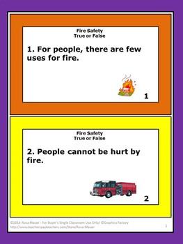 Fire Safety True or False Task Cards
