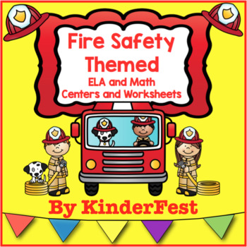 Fire Safety Themed ELA and Math Centers and Worksheets