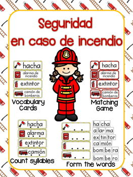 SPANISH Fire Safety Vocabulary Activities