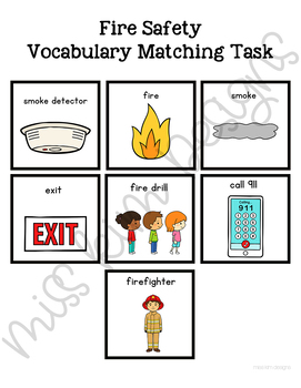 Fire Safety Vocabulary Folder Game for Students with Autism & Special Needs