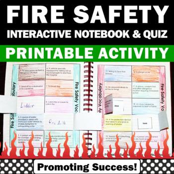 Fire Safety Activities, Interactive Notebook & Quiz, Fire Prevention Week