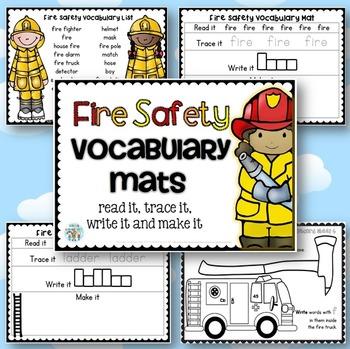 Fire Safety Week Vocabulary Mats