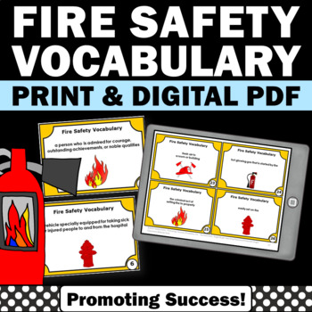 Fire Safety Week Task Cards Literacy Centers Vocabulary Ga