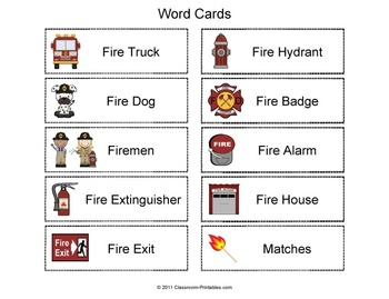 Fire Safety Vocabulary Word / Picture Match