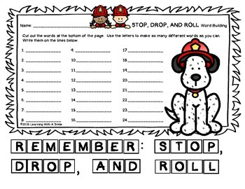 Fire Safety Week FREEBIE - Word Building - Great Activity