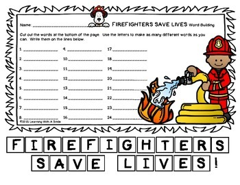Fire Safety Week FREEBIE - Word Building - No Prep Literac