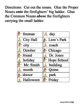 Fire Safety Week Proper and Common Noun Sort