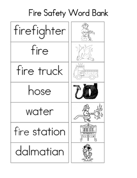 Fire Safety Word Bank By Room 7 Fun Teachers Pay Teachers