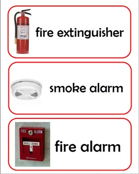 Fire Safety Word Cards