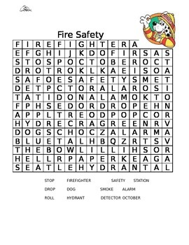Fire Safety Word Search