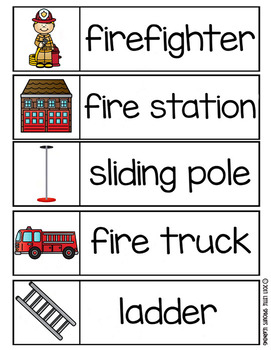 Fire Safety Word Wall - 30 word cards in two sizes plus vocabulary word chart