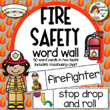 Fire Safety Word Wall - 30 cards two sizes plus vocabulary