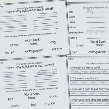 Fire Safety Word Work Printables