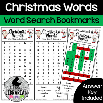 Christmas Words Word Search Bookmarks for Classroom or Library Fun