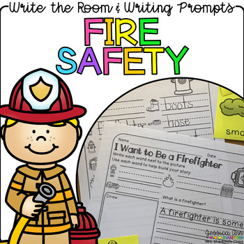 Fire Safety - Write the Room Writing Prompts {Print on Car