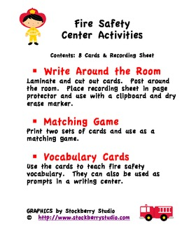 Fire Safety Write the Room and Center Activities