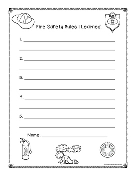 FREE Fire Safety Writing Paper