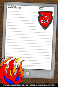 Fire Safety Writing Paper, Picture Prompts, Education Week Activities