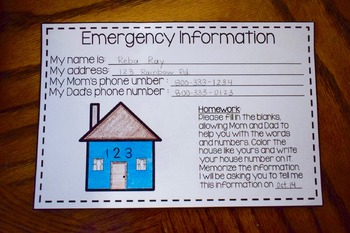 Fire Safety or Emergency Information Writing Cards