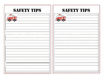 Fire Safety writing - half page with lines