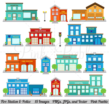 Fire Station Clipart Clip Art, Police Clipart, Printable House Village Town