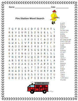 Fire Safety Word Search - Fire Stations