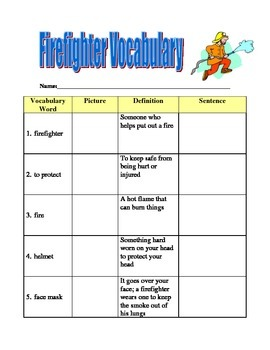 Fire Station and Fire Fighter ESL Vocabulary with Pictures
