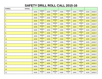 Fire/Tornado/Safety Drill Roll Call Sheet - Customizable/Microsoft Word