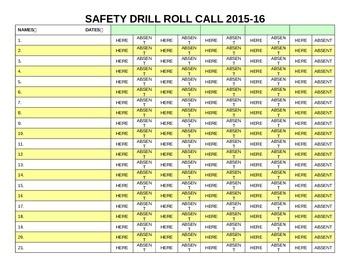 Fire/Tornado/Safety Drill Roll Call Sheet - Customizable/M